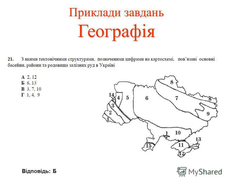 Приклади завдань Географія Відповідь: Б