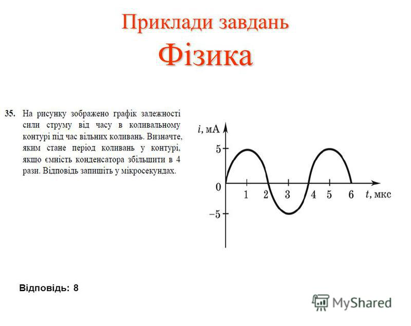 Приклади завдань Фізика Відповідь: 8