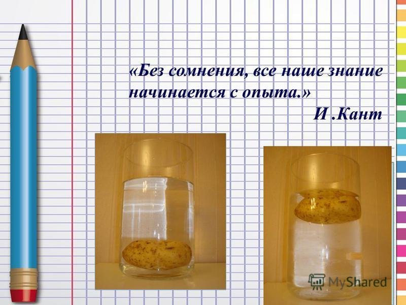 «Без сомнения, все наше знание начинается с опыта.» И.Кант