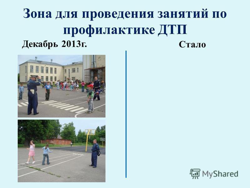 Зона для проведения занятий по профилактике ДТП Декабрь 2013 г. Стало