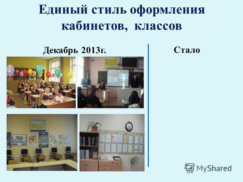 Единый стиль оформления кабинетов, классов Декабрь 2013 г. Стало