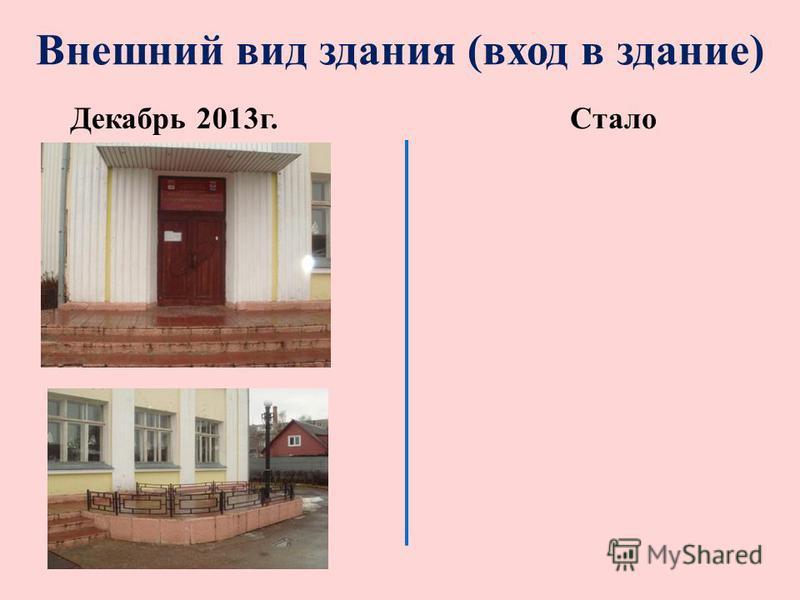 Внешний вид здания (вход в здание) Декабрь 2013 г.Стало