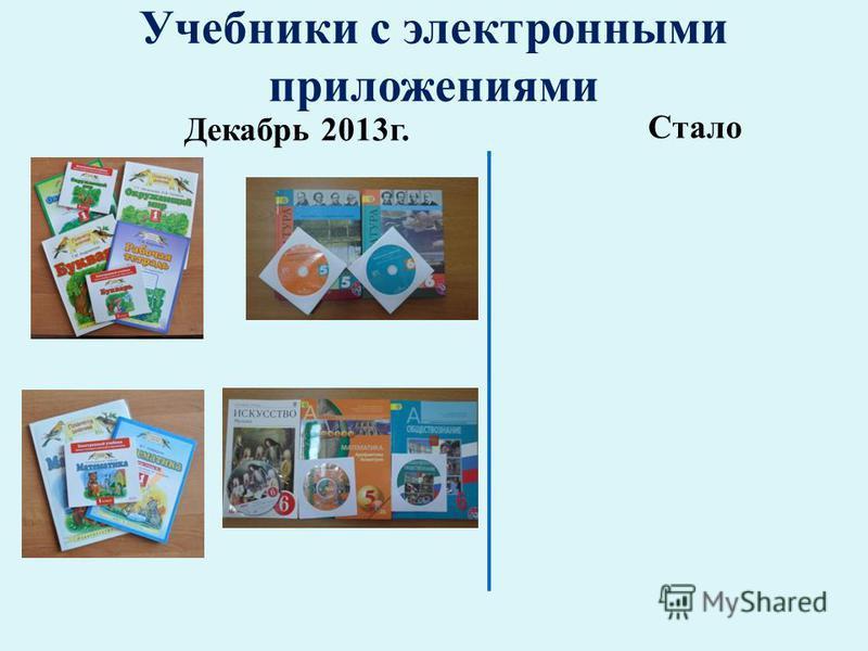 Учебники с электронными приложениями Декабрь 2013 г. Стало