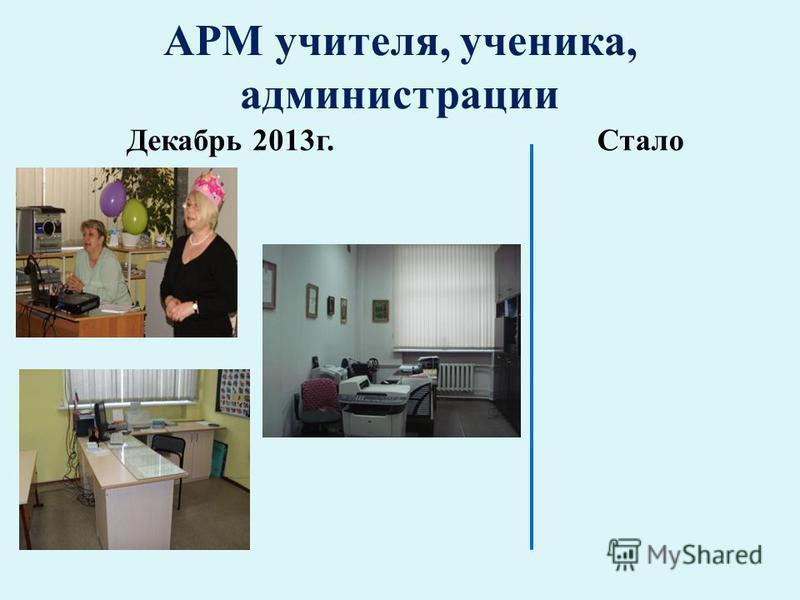 АРМ учителя, ученика, администрации Декабрь 2013 г.Стало