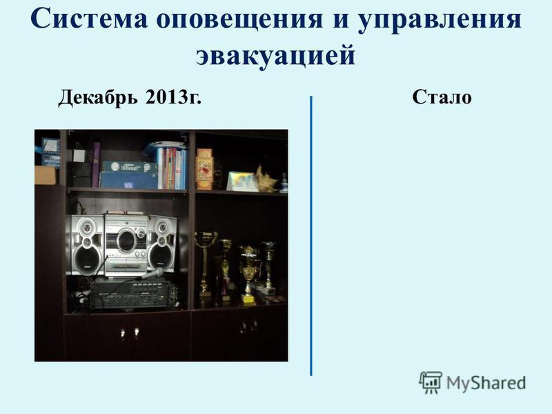 Система оповещения и управления эвакуацией Декабрь 2013 г. Стало