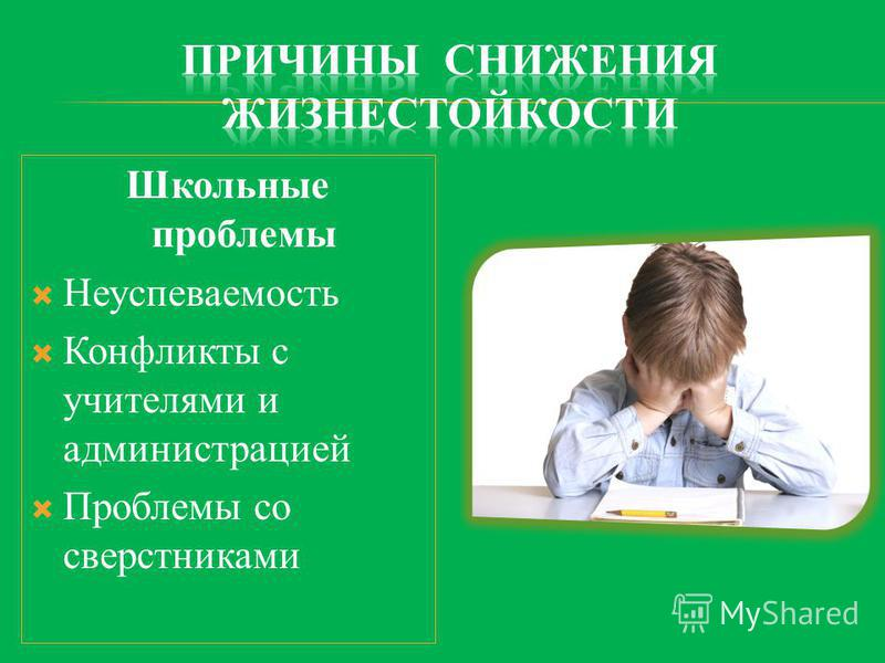 Школьные проблемы Неуспеваемость Конфликты с учителями и администрацией Проблемы со сверстниками