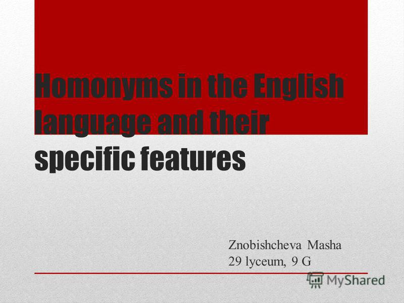 Homonyms in the English language and their specific features Znobishcheva Masha 29 lyceum, 9 G