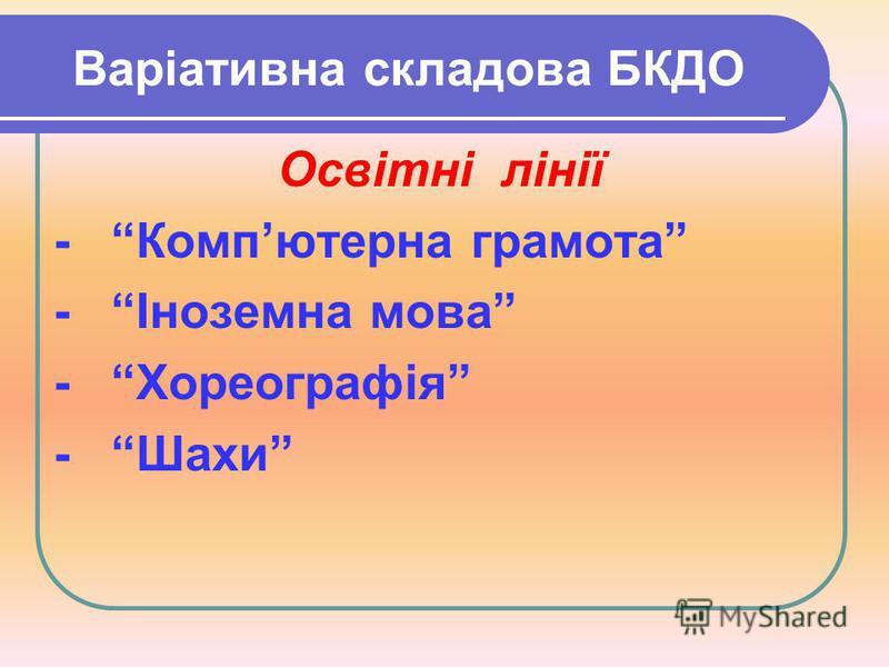 Варіативна складова БКДО Освітні лінії - Компютерна грамота - Іноземна мова - Хореографія - Шахи