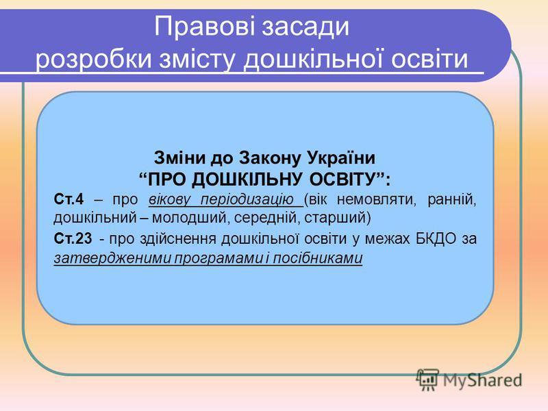 Правові засади розробки змісту дошкільної освіти Зміни до Закону України ПРО ДОШКІЛЬНУ ОСВІТУ: Ст.4 – про вікову періодизацію (вік немовляти, ранній, дошкільний – молодший, середній, старший) Ст.23 - про здійснення дошкільної освіти у межах БКДО за з