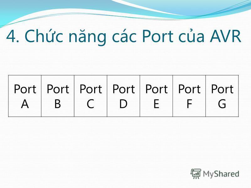 4. Chc năng các Port ca AVR Port A Port B Port C Port D Port E Port F Port G