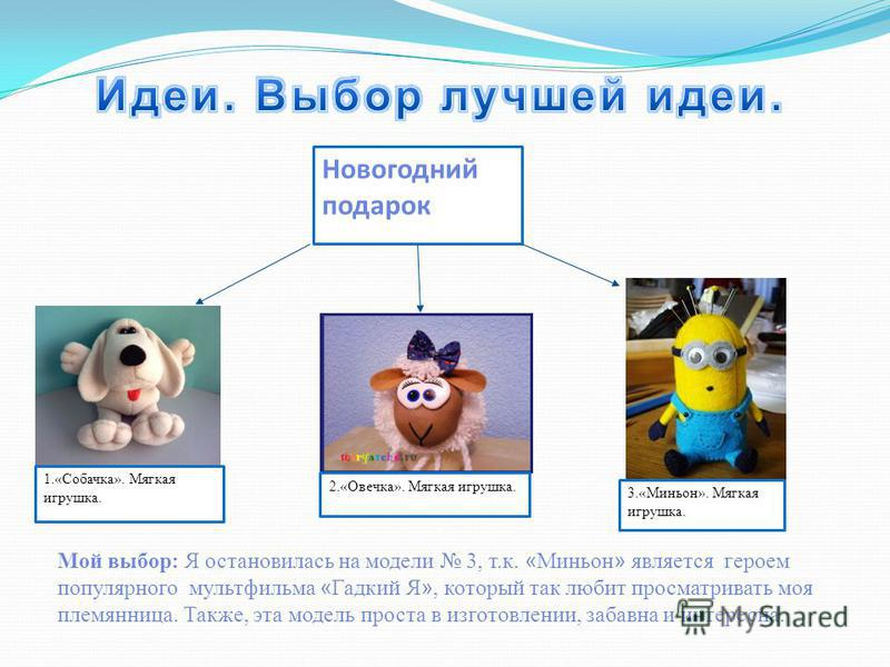 Новогодний подарок 1.«Собачка». Мягкая игрушка. 2.«Овечка». Мягкая игрушка. 3.«Миньон». Мягкая игрушка. Мой выбор: Я остановилась на модели 3, т.к. « Миньон » является героем популярного мультфильма « Гадкий Я », который так любит просматривать моя п