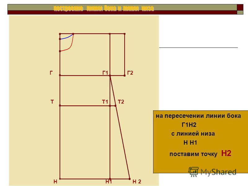 на пересечении линии бока Г1Н2 с линией низа Н Н1 поставим точку Н2 Г Г1 Г2 Т Т1 Т2 Н Н1 Н 2