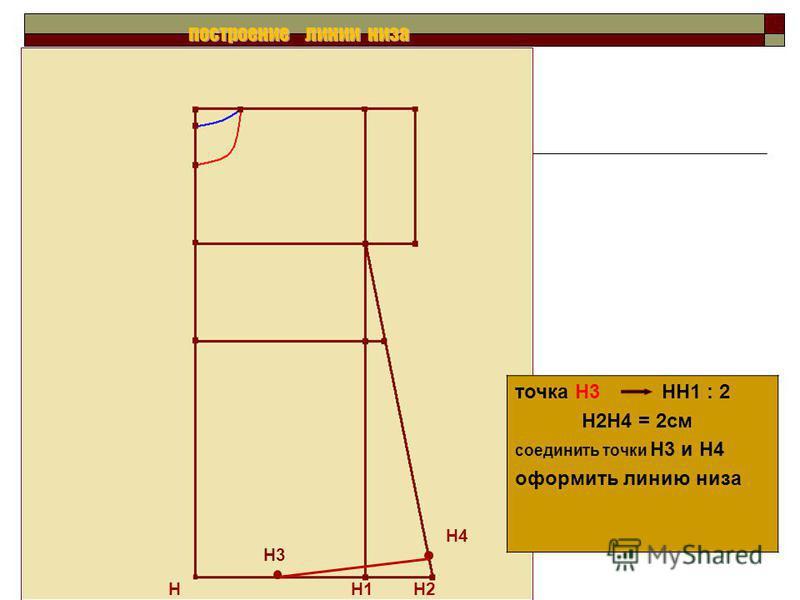 Н Н1 Н2 точка Н3 НН1 : 2 Н2Н4 = 2 см соединить точки Н3 и Н4 оформить линию низа Н4 построение линии низа Н3