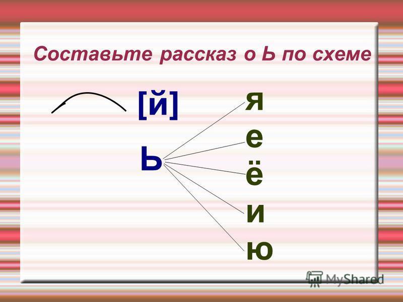 Составьте рассказ о Ь по схеме Ь яеёиюяеёию [й]