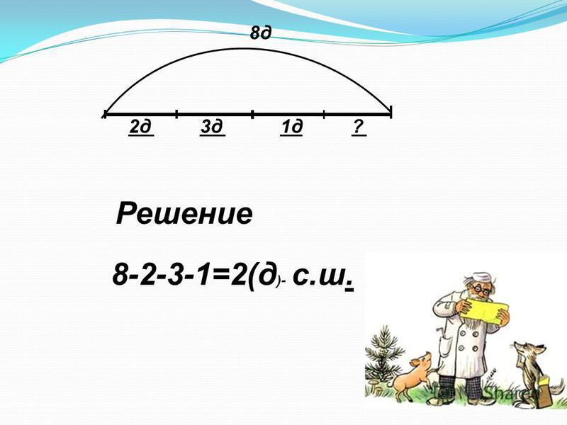Решение 8 д 2 д 3 д 1 д? 8-2-3-1=2(д )- с.ш.