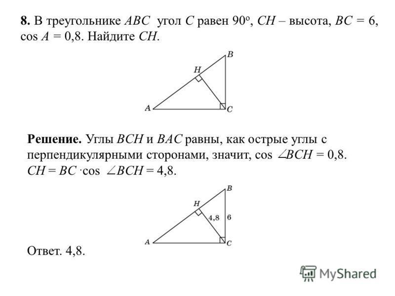 8. В треугольнике ABC угол C равен 90 о, CH – высота, BC = 6, cos A = 0,8. Найдите CH. Ответ. 4,8. Решение. Углы BCH и BAC равны, как острые углы с перпендикулярными сторонами, значит, cos BCH = 0,8. CH = BC cos BCH = 4,8.