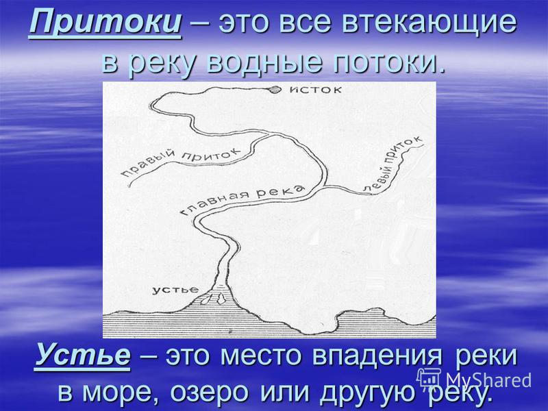 Притоки – это все втекающие в реку водные потоки. Устье – это место впадения реки в море, озеро или другую реку.
