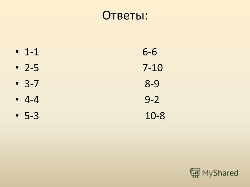 Ответы: 1-1 6-6 2-5 7-10 3-7 8-9 4-4 9-2 5-3 10-8