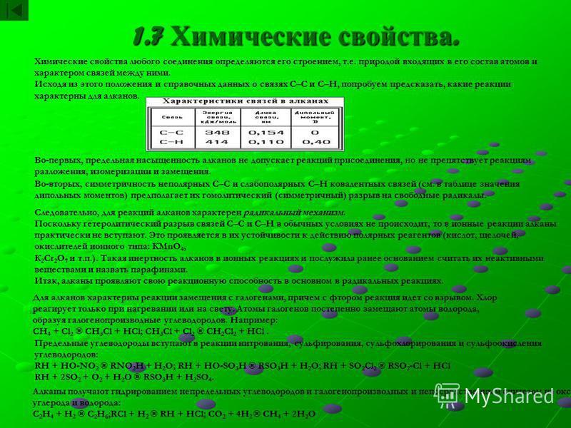 1.7 Химические свойства. Химические свойства любого соединения определяются его строением, т.е. природой входящих в его состав атомов и характером связей между ними. Исходя из этого положения и справочных данных о связях С–С и С–Н, попробуем предсказ