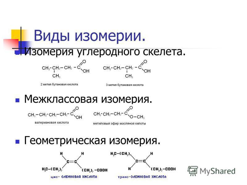 Виды изомерии. Изомерия углеродного скелета. Межклассова я изомерия. Геометрическа я изомерия.