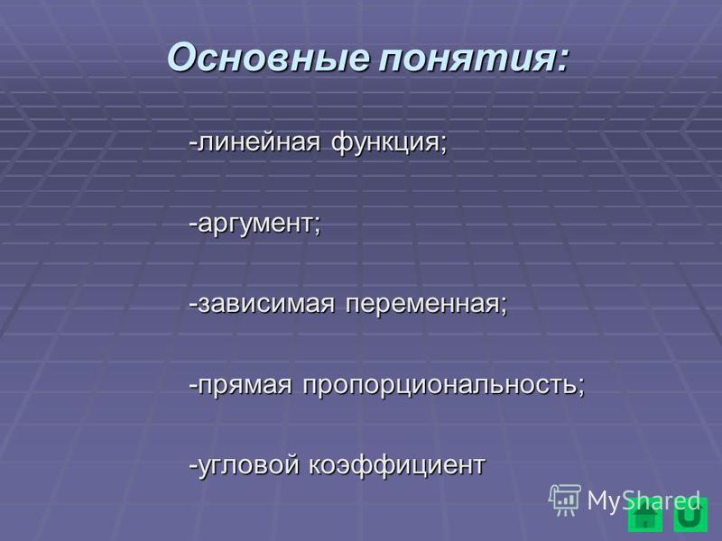 Основные понятия: -линейная функция; -аргумент; -зависимая переменная; -прямая пропорциональность; -угловой коэффициент