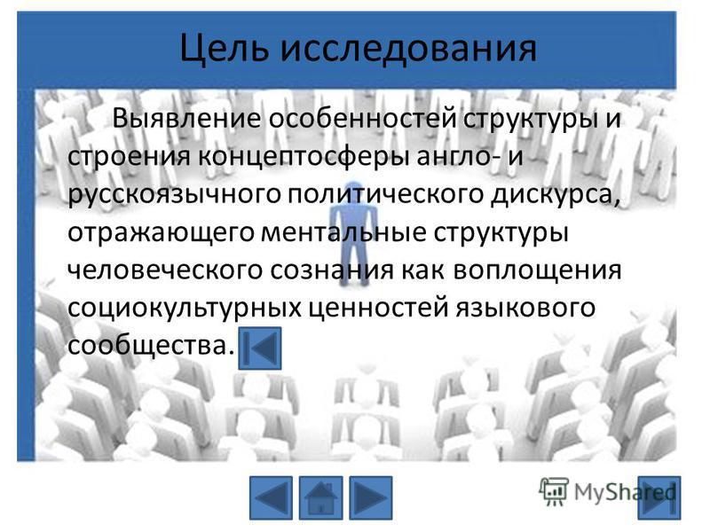 Цель исследования Выявление особенностей структуры и строения концептосферы англо- и русскоязычного политического дискурса, отражающего ментальные структуры человеческого сознания как воплощения социокультурных ценностей языкового сообщества.