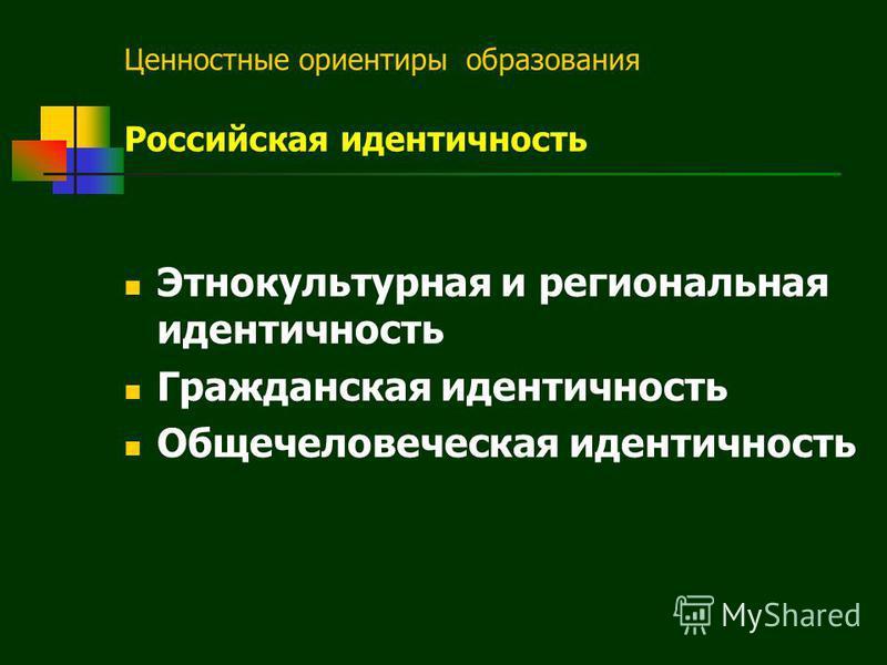 Ценностные ориентиры образования Российская идентичность Этнокультурная и региональная идентичность Гражданская идентичность Общечеловеческая идентичность