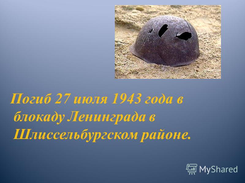 Погиб 27 июля 1943 года в блокаду Ленинграда в Шлиссельбургском районе.