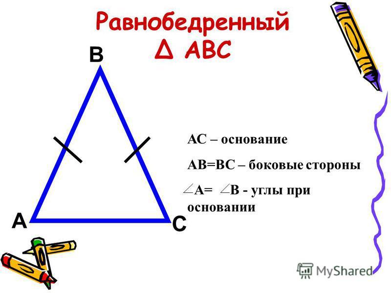 АС – основание АВ=ВС – боковые стороны А= В - углы при основании А В С Равнобедренный Δ АВС