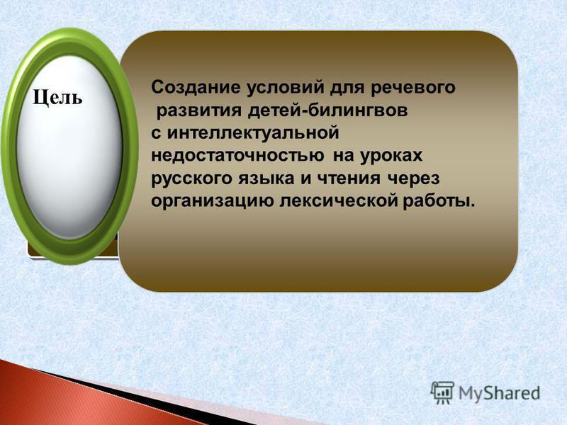 инициативность Цель Создание условий для речевого развития детей-билингвов с интеллектуальной недостаточностью на уроках русского языка и чтения через организацию лексической работы.