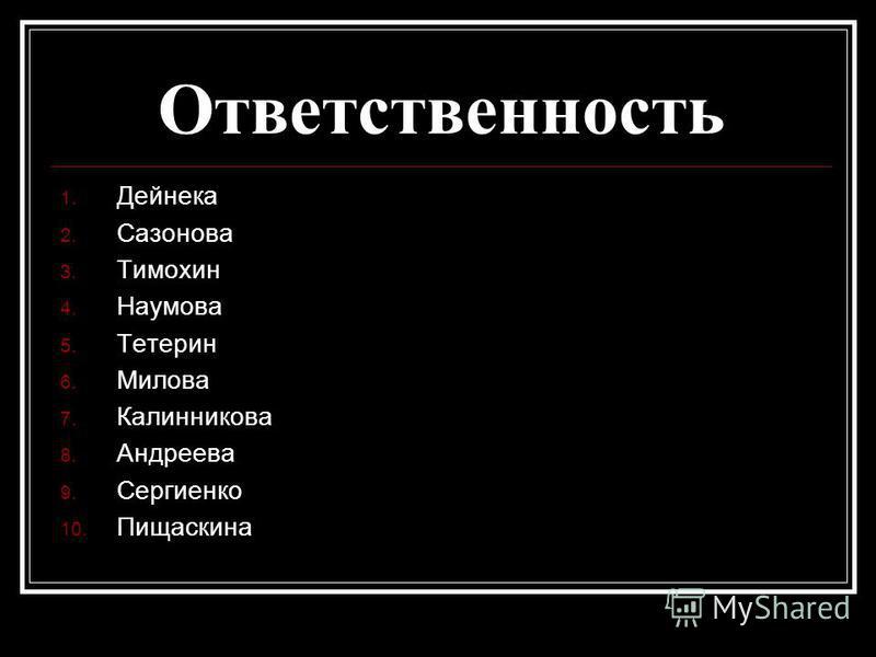 Ответственность 1. Дейнека 2. Сазонова 3. Тимохин 4. Наумова 5. Тетерин 6. Милова 7. Калинникова 8. Андреева 9. Сергиенко 10. Пищаскина