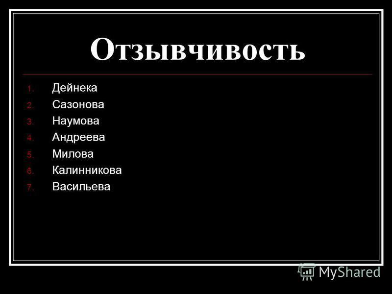 Отзывчивость 1. Дейнека 2. Сазонова 3. Наумова 4. Андреева 5. Милова 6. Калинникова 7. Васильева