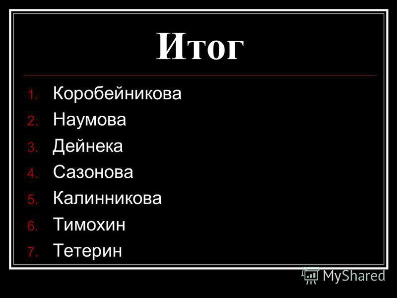 Итог 1. Коробейникова 2. Наумова 3. Дейнека 4. Сазонова 5. Калинникова 6. Тимохин 7. Тетерин