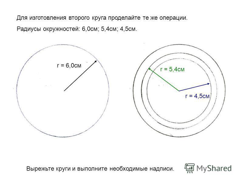 Для изготовления второго круга проделайте те же операции. Радиусы окружностей: 6,0 см; 5,4 см; 4,5 см. r = 6,0 см r = 5,4 см r = 4,5 см Вырежьте круги и выполните необходимые надписи.