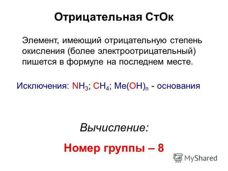 Отрицательная Ст Ок Элемент, имеющий отрицательную степень окисления (более электроотрицательный) пишется в формуле на последнем месте. Исключения: NH 3 ; СН 4 ; Me(OH) n - основания Вычисление: Номер группы – 8