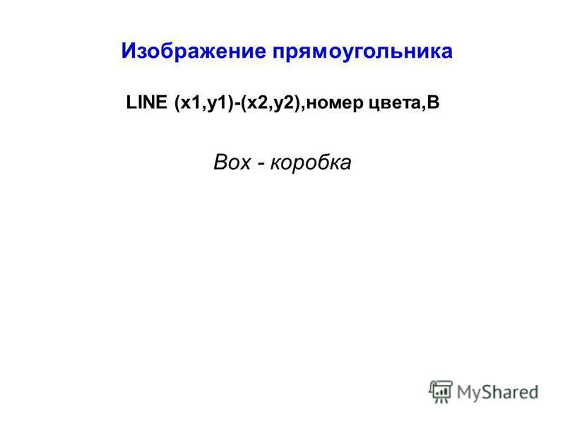 Изображение прямоугольника LINE (x1,y1)-(x2,y2),номер цвета,В Box - коробка