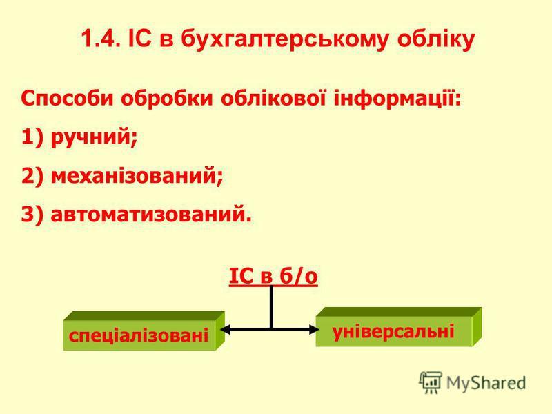 1.4. ІС в бухгалтерському обліку Способи обробки облікової інформації: 1) ручний; 2) механізований; 3) автоматизований. ІС в б/о спеціалізовані універсальні