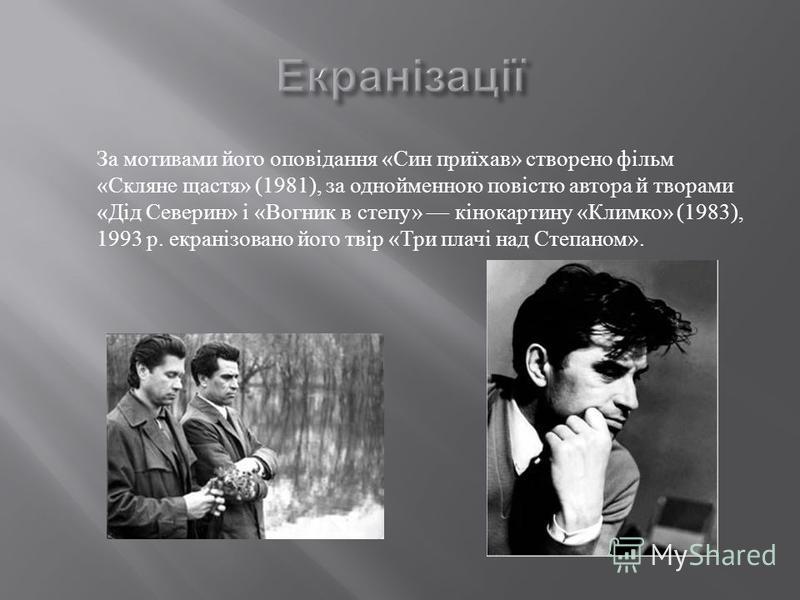 За мотивами його оповідання « Син приїхав » створено фільм « Скляне щастя » (1981), за однойменною повістю автора й творами « Дід Северин » і « Вогник в степу » кінокартину « Климко » (1983), 1993 р. екранізовано його твір « Три плачі над Степаном ».