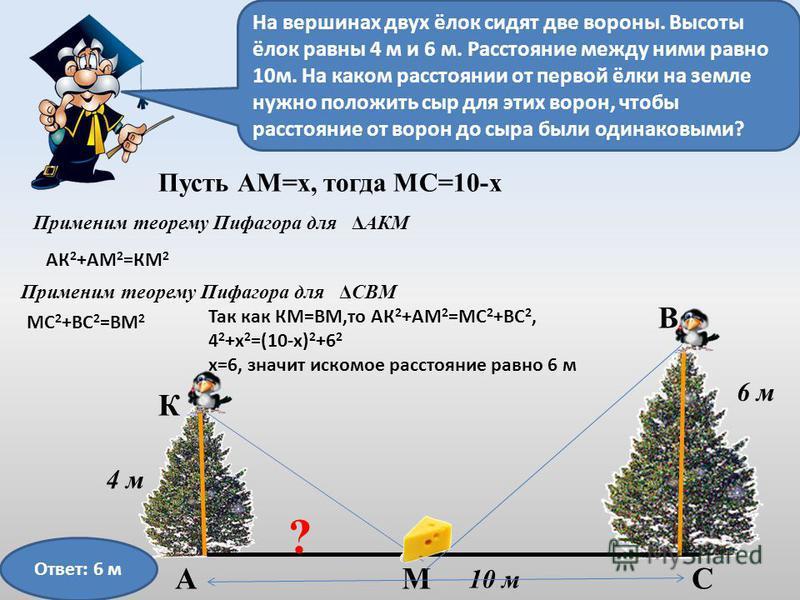 10 м 6 м 4 м ? Пусть АМ=х, тогда МС=10-х В АСМ К ΔАКМПрименим теорему Пифагора для На вершинах двух ёлок сидят две вороны. Высоты ёлок равны 4 м и 6 м. Расстояние между ними равно 10 м. На каком расстоянии от первой ёлки на земле нужно положить сыр д