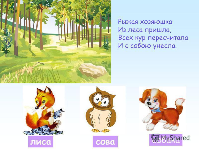 лиса сова собака Рыжая хозяюшка Из леса пришла, Всех кур пересчитала И с собою унесла.