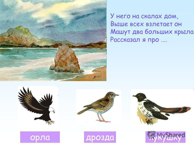 орладроздакукушку У него на скалах дом, Выше всех взлетает он Машут два больших крыла Рассказал я про ….