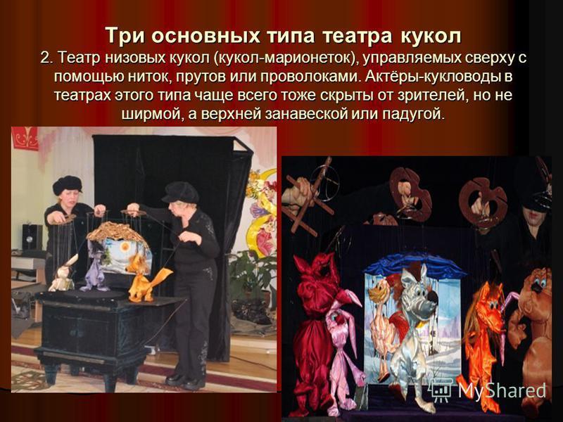 Три основных типа театра кукол 2. Театр низовых кукол (кукол-марионеток), управляемых сверху с помощью ниток, прутов или проволоками. Актёры-кукловоды в театрах этого типа чаще всего тоже скрыты от зрителей, но не ширмой, а верхней занавеской или пад