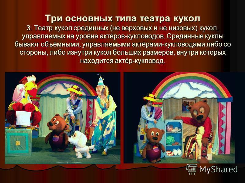 Три основных типа театра кукол 3. Театр кукол срединных (не верховых и не низовых) кукол, управляемых на уровне актёров-кукловодов. Срединные куклы бывают объёмными, управляемыми актёрами-кукловодами либо со стороны, либо изнутри кукол больших размер