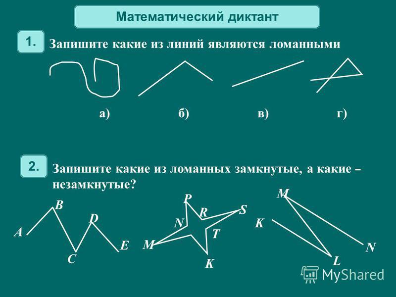 Математический диктант Запишите какие из ломанных замкнутые, а какие – незамкнутые? 2. A B C D E M N P R T K S K L M N Запишите какие из линий являются ломанными 1. а)б) в)г)