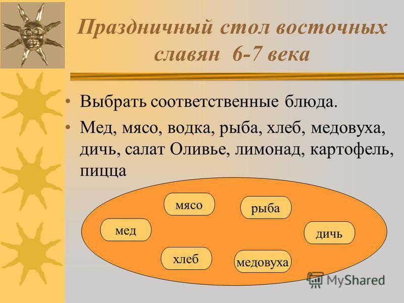 Праздничный стол восточных славян 6-7 века Выбрать соответственные блюда. Мед, мясо, водка, рыба, хлеб, медовуха, дичь, салат Оливье, лимонад, картофель, пицца мед мясо рыба медовуха дичь хлеб