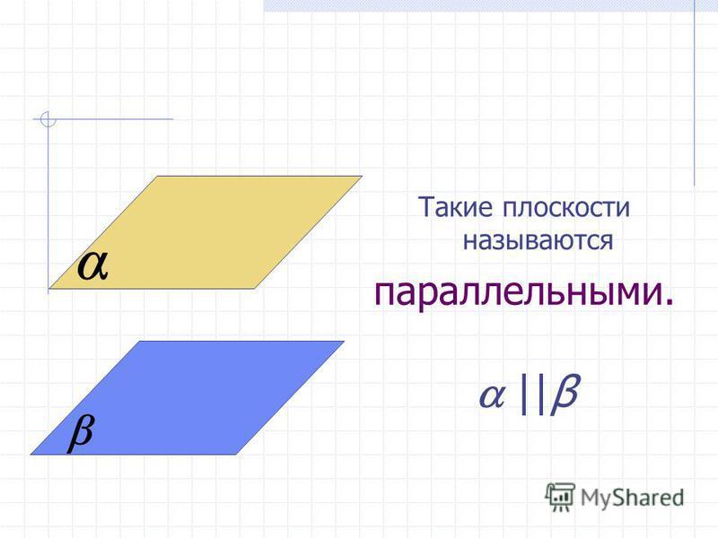 Такие плоскости называются параллельными. ||β