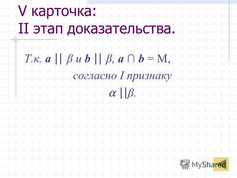 V карточка: II этап доказательства. Т.к. a || β и b || β, a b = M, согласно I признаку || β.