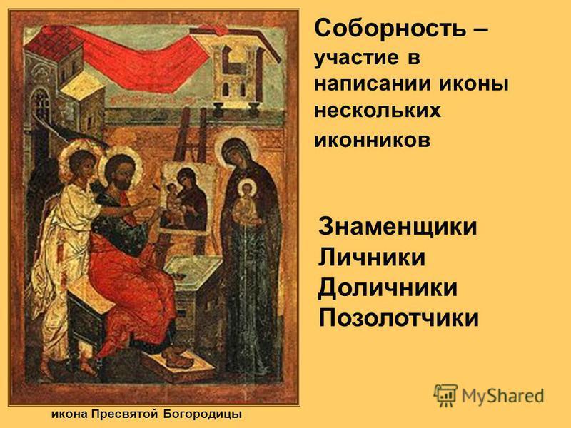 икона Пресвятой Богородицы Соборность – участие в написании иконы нескольких иконников Знаменщики Личники Доличники Позолотчики