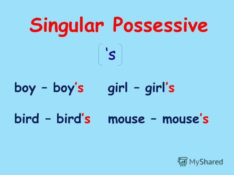 Singular Possessive boy – boysgirl – girls bird – birdsmouse – mouses s