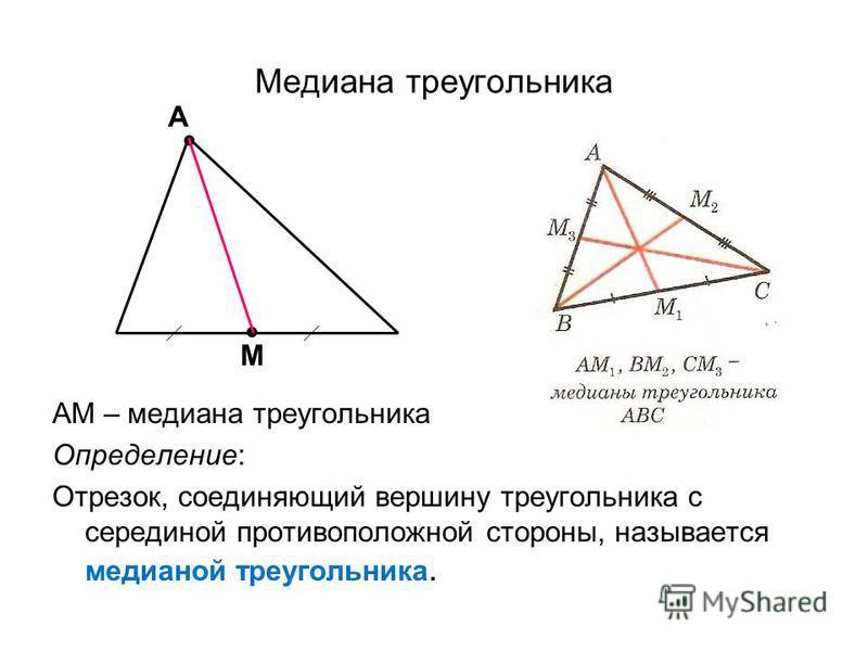 Медиана треугольника АМ – медиана треугольника Определение: Отрезок, соединяющий вершину треугольника с серединой противоположной стороны, называется медианой треугольника... А М